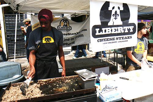 Liberty was serving cheesesteaks outside their restaurant. (Zach Brien, UptownMessenger.com)