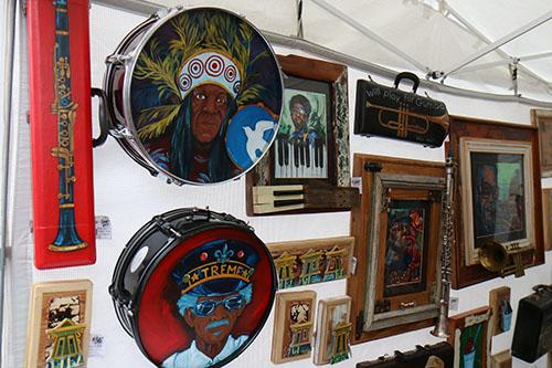 Shaun Aleman had his New Orleans-themed artwork for sale. (Zach Brien, UptownMessenger.com)