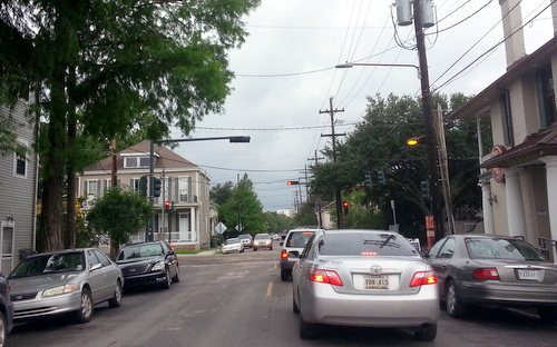 Cars wait to pass through the newly-reopened intersection of Freret and Jefferson on Friday afternoon, shortly after barriers were removed. (Robert Morris, UptownMessenger.com)