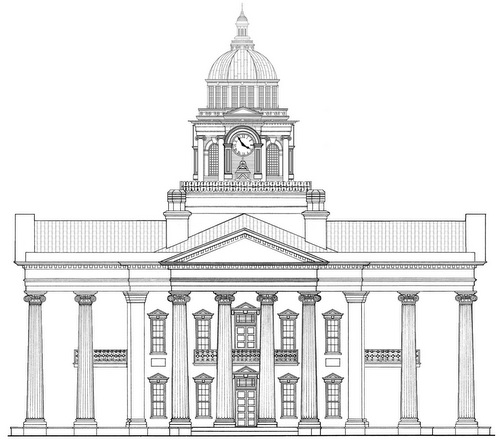 A drawing of the Carrollton courthouse.