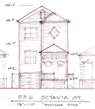 The plan for a new house at 536 Octavia Street. (via City of New Orleans)