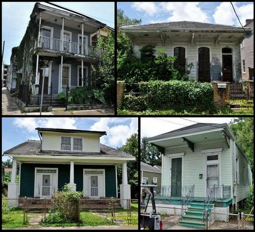 The houses at (top row) 1600 Carondelet and 1032 Upperline, and (bottom row) 1020 Upperline and 5922 Patton were all discussed by the Neighborhood Conservation District Advisory Committee on Monday. (graphic by UptownMessenger.com; images via City of New Orleans.)