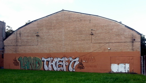 """The P-Town Project's former exhortation to """"Let the kids decide"""" the future of the Priestley campus has been replaced with another message. (Robert Morris, UptownMessenger.com)"""