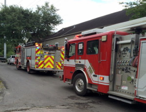 Sometimes fire trucks provide exercise for the resident seeking to get home. (photo by S.L. Alexander)