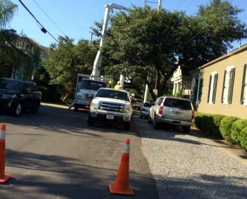 Entergy trucks blocking the street on June 2, aka, life in New Orleans. (photo by S.L. Alexander)