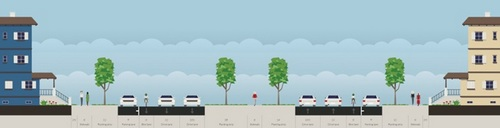 The proposed reconfiguration of Napoleon Avenue, with a narrower neutral ground and a new bike lane in each direction. (via City of New Orleans)