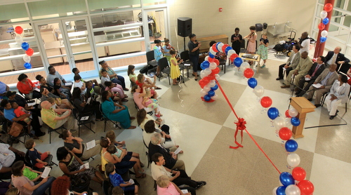 Audubon Charter School students perform before a crowd of nearly 200 people during the ceremony. (Robert Morris, UptownMessenger.com)