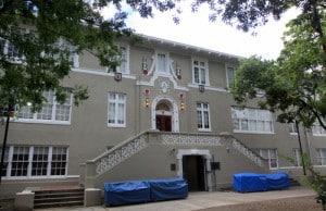 Work still continues on Audubon Charter School even as students return this week. (Robert Morris, UptownMessenger.com)