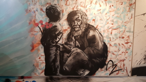 One of the pieces created by Az for a street-art exhibit at Treo gallery in Mid-City. (via azwashere.com)
