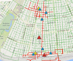 More than 1,700 Uptown addresses were without power Friday evening. (map via Entergy)
