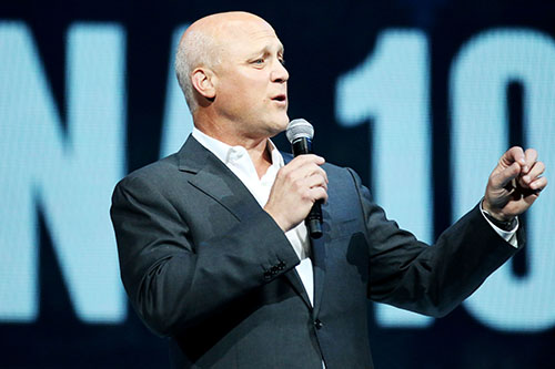 Mayor Mitch Landrieu speaks during the Katrina 10 commemoration at the Smoothie King Center on Saturday. (Zach Brien, UptownMessenger.com)