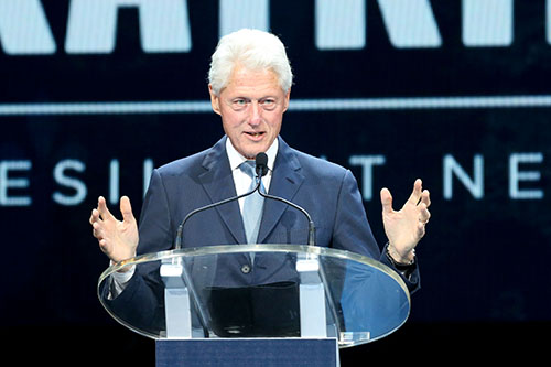 Former President Bill Clinton speaks during the Katrina 10 commemoration at the Smoothie King Center on Saturday. (Zach Brien, UptownMessenger.com)