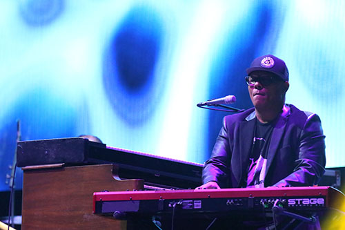 """Ivan Neville plays """"Big Chief"""" with Dumpstaphunk at the end of the Katrina 10 commemoration at the Smoothie King Center on Saturday.. (Zach Brien, UptownMesssenger.com)"""