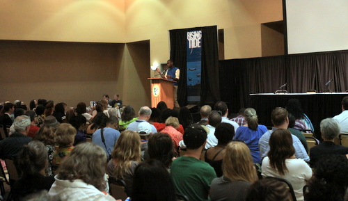 The room at the Rising Tide Conference is full for Deray McKesson's keynote address. (Robert Morris, UptownMessenger.com)