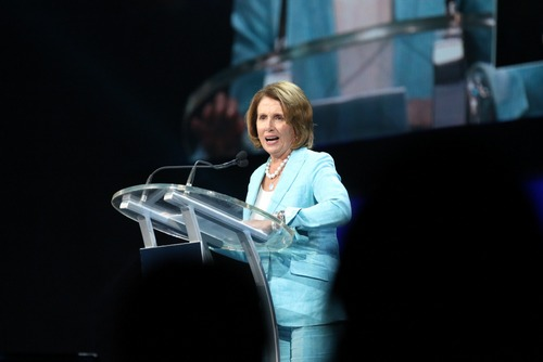 Nancy Pelosi speaks during the Katrina 10 commemoration at the Smoothie King Center on Saturday. (Zach Brien, UptownMessenger.com)