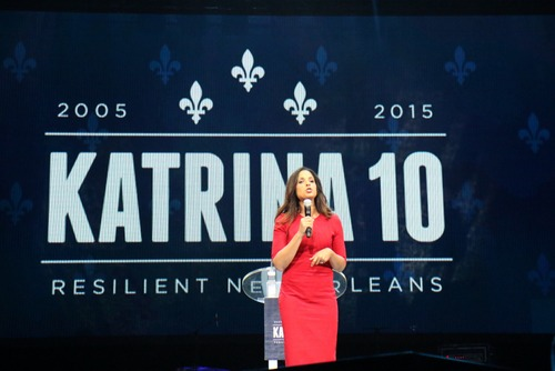 Soledad O'Brien speaks during the Katrina 10 commemoration. (Zach Brien, UptownMessenger.com)