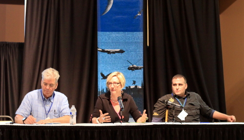 Bob Marshall of The Lens, Ann Rolfes of the Louisiana Bucket Brigade, and Jonathan Henderson of the Gulf Restoration Network speak on a panel about the environment at Rising Tide X. (Robert Morris, UptownMessenger.com)