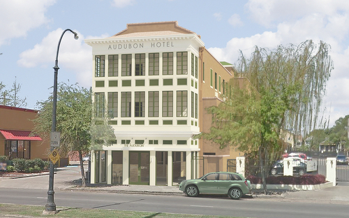 A rendering of the proposed redevelopment of the Audubon Hotel on St. Charles Avenue. (image by Coleman Partners Archictects, via audubonstcharles.com)
