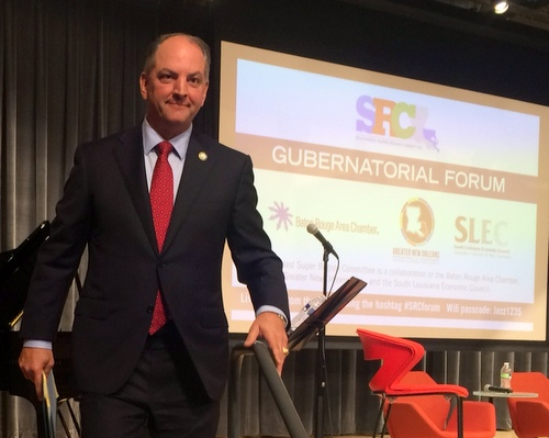 Democratic gubernatorial candidate John Bel Edwards descends from the stage at a political forum in September. (UptownMessenger.com file photo by Danae Columbus)