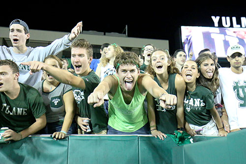 A packed student section gets rowdy before Tulane's home opener versus Duke. (Zach Brien, UptownMessenger.com)