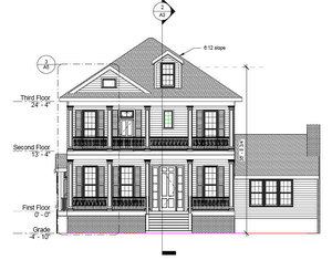 Plans for the rebuilt house at 1455 Arabella Street. (Rendering by Mayo Architects, via City of New Orleans)