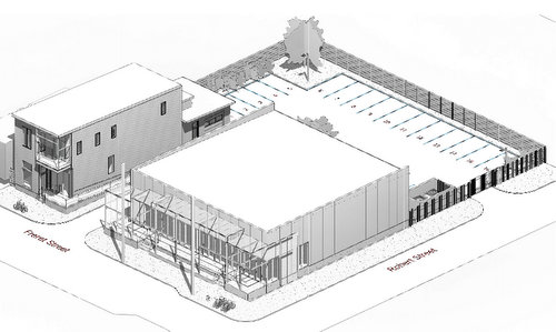 The site layout proposed for the two buildings at 5007 Freret. (image by Studio WTA, via City of New Orleans)