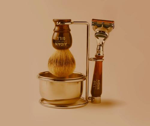The Aidan Gill For Men badger brush and shave set