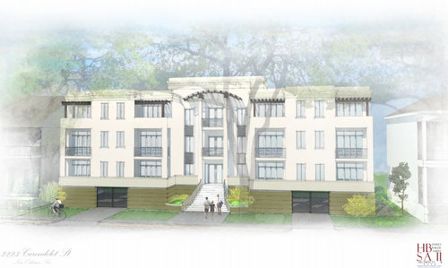 A rendering of the condo building proposed at 2223 Carondelet (by Harry Baker Smith Architects, via City of New Orleans)