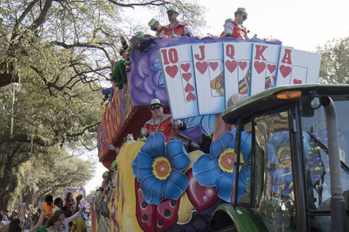 "The ""Education: School of Gaming"" float makes its way down Napoleon avenue in the Krewe of King Arthur. King Arthur was one of four parades that rolled uptown on Sunday. (Zach Brien, UptownMessenger.com)"