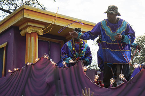 The Krewe of Alla had a float dedicated to those service members who received the Purple Heart award. The Krewe of Alla was one of four parades to roll Sunday afternoon Uptown. (Zach Brien, UptownMessenger.com)