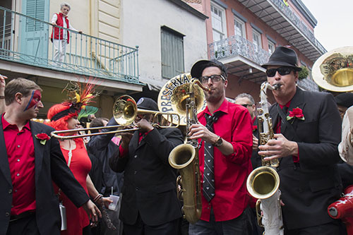 Members of the Preservation Hall Jazz Band make their way down Royal street. On Saturday, the Preservation Hall Jazz Band and members of Arcade Fire led a second line through the French Quarter in honor of musician David Bowie who died on January 10, 2016.