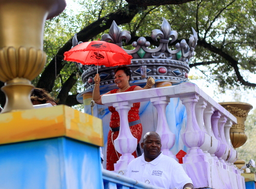State Sen. Karen Carter Peterson presided as grand marshal as the Mystic Krewe of Femme Fatale rolled on St. Charles Avenue. (Robert Morris, UptownMessenger.com)