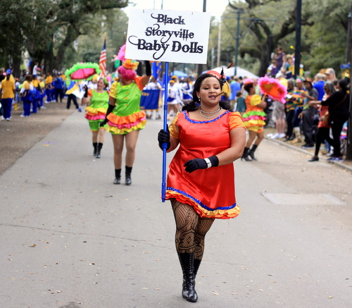 The Black Storyville Baby Dolls in the Mystic Krewe of Femme Fatale parade on St. Charles Avenue. (Robert Morris, UptownMessenger.com)