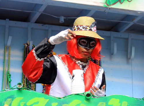 A rider scans the crowd as the Mystic Krewe of Femme Fatale rolled on St. Charles Avenue. (Robert Morris, UptownMessenger.com)