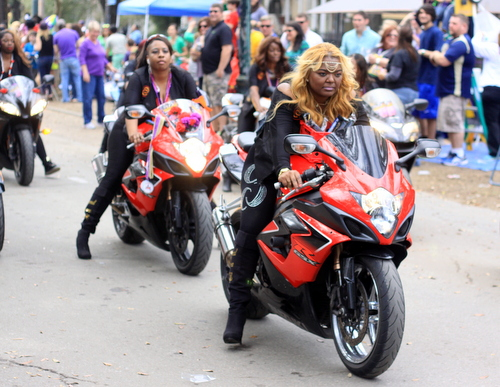 A motorcycle group rolls with the Mystic Krewe of Femme Fatale on St. Charles Avenue. (Robert Morris, UptownMessenger.com)