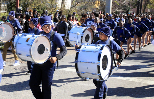 Students from Sylvanie Williams College Prep march perform in the parade. (Robert Morris, UptownMessenger.com)