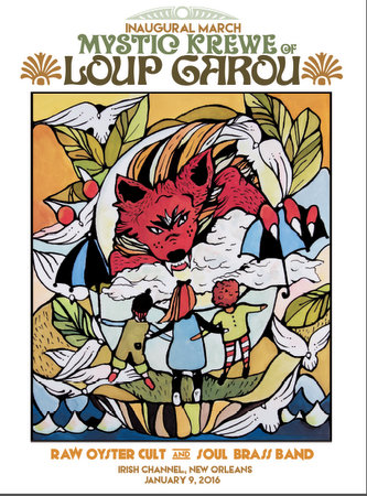 The poster for the inaugural Krewe of Loup Garou, designed by artist Merrie Morrow. (courtesy of the artist)