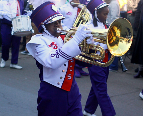 The Dryades YMCA marching band performs as the Krewe of Zulu rides on St. Charles Avenue. (Robert Morris, UptownMessenger.com)