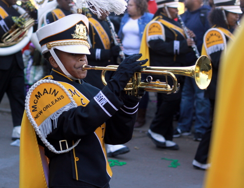 The Eleanor McMain Secondary School performs in the Krewe of Zulu parade. (Robert Morris, UptownMessenger.com)