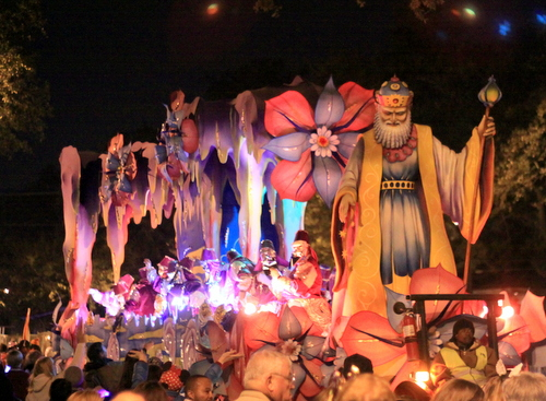 "The ""Prospero's Cave"" float in the Krewe of Hermes rolls on Napoleon Avenue. (Robert Morris, UptownMessenger.com)"