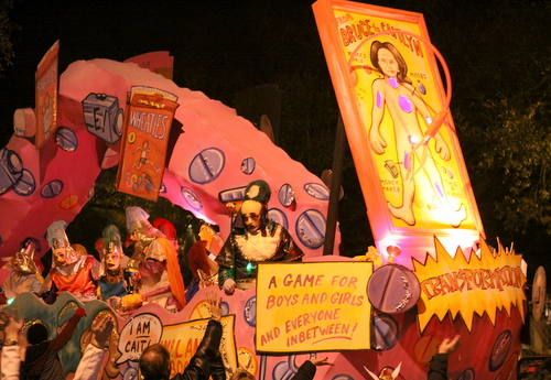 "The ""Operation"" float in Le Krewe d'Etat rolls on Napoleon Avenue. (Robert Morris, UptownMessenger.com)"