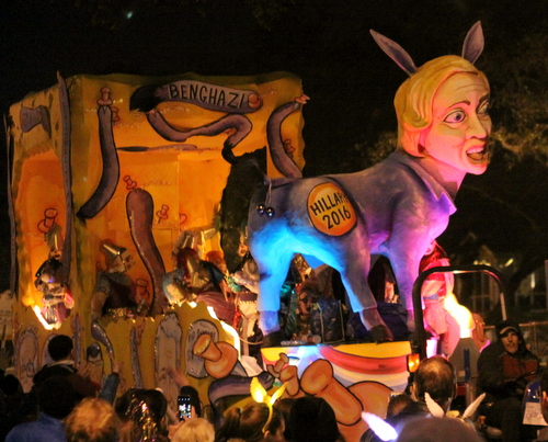 "The ""Pin the Tail on the Donkey"" float in Le Krewe d'Etat rolls on Napoleon Avenue. (Robert Morris, UptownMessenger.com)"