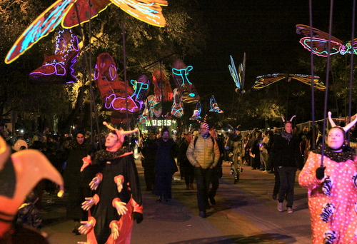The Krewe of Muses is preceded by glowing butterflies and shoes on Napoleon Avenue. (Robert Morris, UptownMessenger.com)