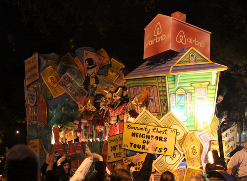 "AirBnB becomes a game of ""Monopoly"" as Le Krewe d'Etat rolls on Napoleon Avenue. (Robert Morris, UptownMessenger.com)"