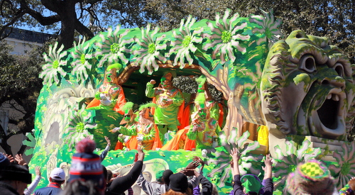 "The ""Parco dei Mostri di Bomarzo"" float in the Krewe of Rex rolls on St. Charles Avenue. (Robert Morris, UptownMessenger.com)"
