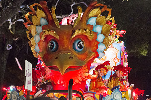 "The Soaring Garuda float rolls down St. Charles avenue. Bacchus 2016 rolled with the theme ""Flights of Delight."" (Zach Brien, UptownMessenger.com)"