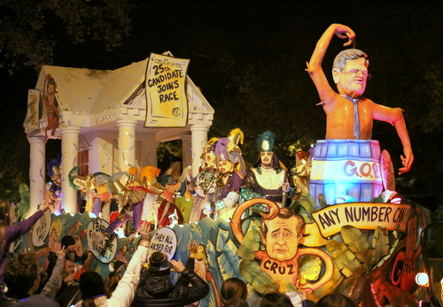 "Former Republican frontrunner Jeb Bush and pals are a ""Barrel of Monkeys"" as Le Krewe d'Etat rolls on Napoleon Avenue. (Robert Morris, UptownMessenger.com)"