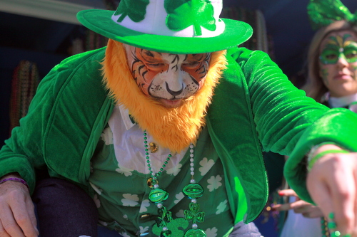 A rider on the Irish Channel float in the Krewe of Tucks on Napoleon Avenue. (Robert Morris, UptownMessenger.com)