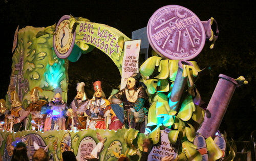 "Water woes become ""Drinking Games"" when Le Krewe d'Etat rolls on Napoleon Avenue. (Robert Morris, UptownMessenger.com)"