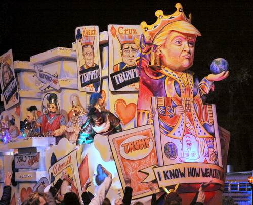 "Donald Trump's takedowns of his enemies are his ""Trump Card"" as Le Krewe d'Etat rolls on Napoleon Avenue. (Robert Morris, UptownMessenger.com)"